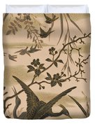 Cranes And Birds At Pond 1880 Duvet Cover