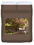Crichton Church Entrance Gate And Tree In Pink Bloom Duvet Cover