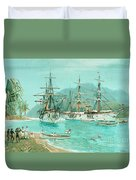 Cruiser And Gunboat Hoist On Ponape The German Flag Duvet Cover