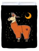 Cute Funny Sleepy Llama In Pajamas Bedtime Duvet Cover