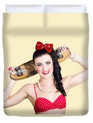 Cute Pinup Skater Girl In Punk Glam Fashion Duvet Cover