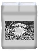 Dandelion Up Close And Personal Black And White Duvet Cover