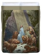 Daniel In The Den Of Lions  Engraving By Gustave Dore Duvet Cover