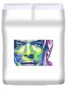 David Bowie Portrait In Aqua And Green Duvet Cover