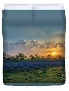 Daybreak In The Land Of Bluebonnets Duvet Cover