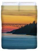 Deception Pass Bridge Sunset Light Duvet Cover