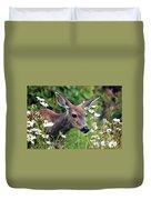Deer In Daisies Duvet Cover