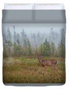 Deer Mist Fog Landscape Duvet Cover by Patti Deters