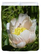 Delicate Pastel Peach Cupped Peony Blossom Duvet Cover