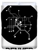 Denver Black Subway Map Duvet Cover