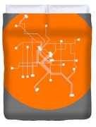 Denver Orange Subway Map Duvet Cover