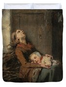 Destitute Dead Mother Holding Her Sleeping Child In Winter, 1850 Duvet Cover