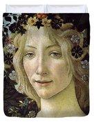 Detail From The Primavera, Circa 1478, Tempera On Panel Duvet Cover