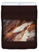 Detail Of Abstract Shape On Old Wood Duvet Cover