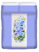 Dew Fresh Blue Roses Duvet Cover by Asha Sudhaker Shenoy