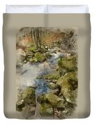 Digital Watercolor Painting Of Autumn Fall Forest Landscape Stre Duvet Cover
