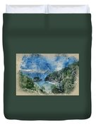 Digital Watercolor Painting Of Beautiful Dramatic Sunrise Landsa Duvet Cover
