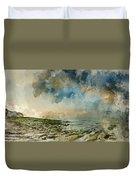 Digital Watercolor Painting Of Beautiful Landscape Panorama Suns Duvet Cover