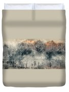 Digital Watercolor Painting Of Panorama Landscape Of Lake In Mis Duvet Cover