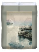 Digital Watercolor Painting Of Peaceful Landscape Of Stone Jetty Duvet Cover
