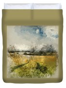 Digital Watercolor Painting Of Stunning Countryside Landscape Wh Duvet Cover