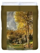 Digital Watercolor Painting Of Stunning Vibrant Autumn Forest La Duvet Cover