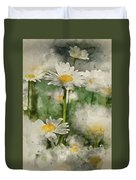 Digital Watercolor Painting Of Wild Daisy Flowers In Wildflower  Duvet Cover