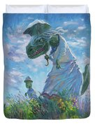Dinosaur And Son With A Parasol  Duvet Cover by Martin Davey