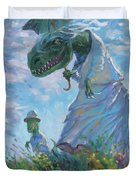 Dinosaur And Son With A Parasol  Duvet Cover