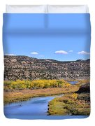 Distant Boat On The San Juan River In Fall Duvet Cover