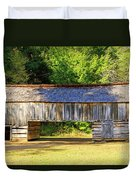 Double Crib Barn In Cades Cove In Smoky Mountains National Park Duvet Cover
