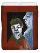 Double Portrait On Black Duvet Cover