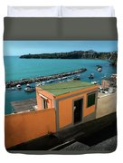 Downhill To The Harbour Duvet Cover