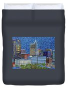 Downtown Raleigh - City At Night Duvet Cover
