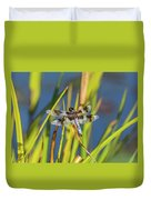 Dragonfly Perched By Pond Duvet Cover