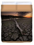 Dry Banks Of Rainy River After Sunset Duvet Cover