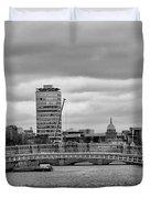 Dublin Ireland - Ha Penny Bridge In Black And White Duvet Cover