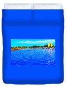 Dunkirk New York Harbor With Neon Effect By Rose Santucisofranko Duvet Cover by Rose Santuci-Sofranko