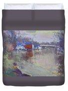 Dusk At Tonawanda Canal Duvet Cover