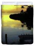 Dusky At Sunset, And A Palm Tree Duvet Cover