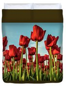 Dutch Red Tulip Field. Duvet Cover