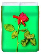 Dying Flower Against A Green Background Duvet Cover