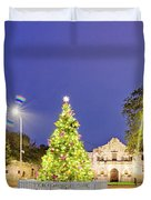 Early Morning Panorama Of Christmas Tree And Lights At The Alamo Mission - San Antonio Texas Duvet Cover