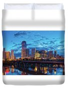 Early Morning Panorama Of Downtown Austin From South Lamar Bridge Over Lady Bird Lake - Austin Texas Duvet Cover