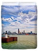 East Pierhead Lighthouse View Of Cleveland Duvet Cover