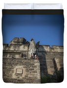 Eastern State And The Gargoyle Duvet Cover by Lora J Wilson