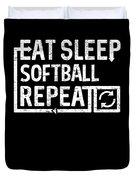 Eat Sleep Softball Duvet Cover