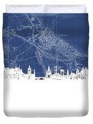 Edinburgh Skyline Map Blue Duvet Cover