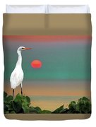 Egret At Evening Duvet Cover