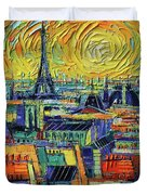 Eiffel Tower And Paris Rooftops In Sunlight Textural Impressionist Stylized Cityscape Mona Edulesco Duvet Cover